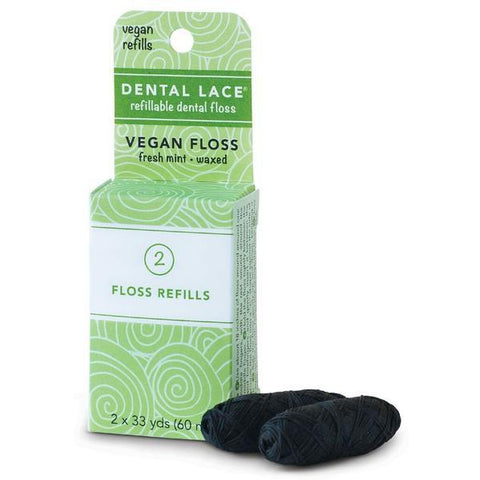 Dental Lace Refillable Silk Dental Floss Canister + 2 x 30m spools, Fresh Mint