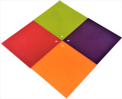 Silicone Square Mat, Pot Holder, Trivet, Jar Opener, Non Slip Heat Reistant Hot Pad - 6 x 4 pcs set