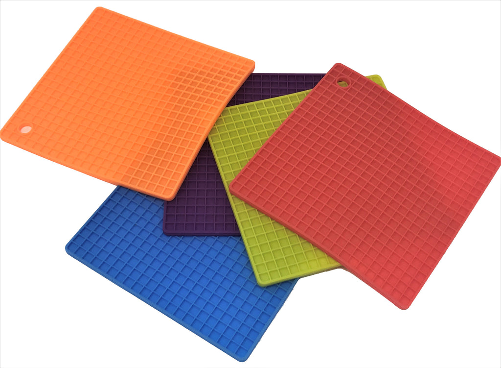 Silicone Square Mat, Pot Holder, Trivet, Jar Opener, Non Slip Heat Reistant Hot Pad - 5 x  4 pcs set