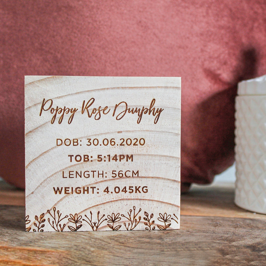 Baby Announcement Block | Wood