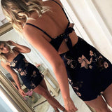Sexy Bodycon Party Dress Summer Flower Printed Sleeveless Bodycon Sexy Backless Short Mini Dress robe femme ete 2017