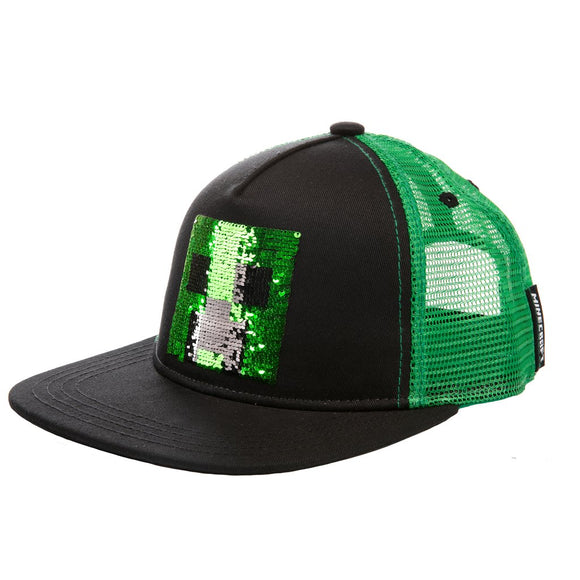 Sapca Minecraft Creeper Sequin