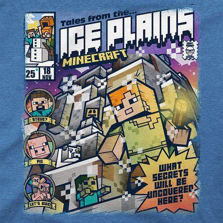 Tricou cu maneca scurta pentru copii, Minecraft Tales from the Ice Plains  - Light Blue