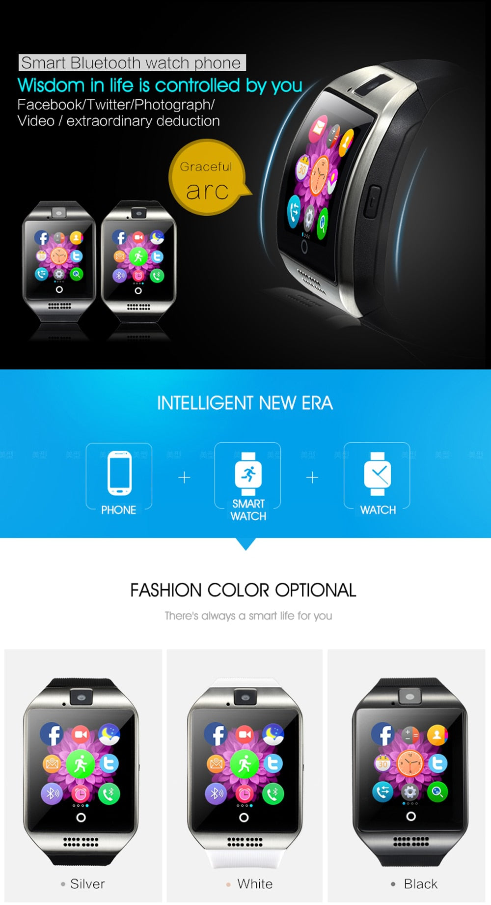 Touch Screen Blue Tooth Smart Watch With SIM Card