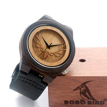 Deer Head Wooden Watch With Genuine Cowhide Leather Band.
