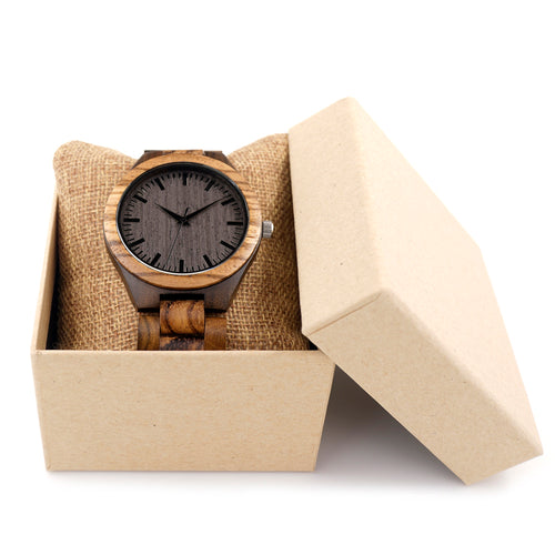 Vintage Bamboo Watch with Gift Box.
