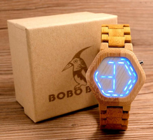 Mens LED Digital Bamboo Watch with Unique LED Date Display