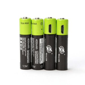 4 Piece AAA 1.5V 400mA USB Rechargeable Lithium Battery, Quick Charging.