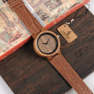 Vintage Wooden Watch With Leather Band and Free Wooden Gift Box