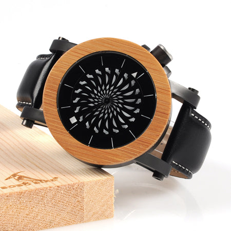 BOBO BIRD WM06M07 Luxury Watch With Rotating Dial, Available in Maple or Pine.
