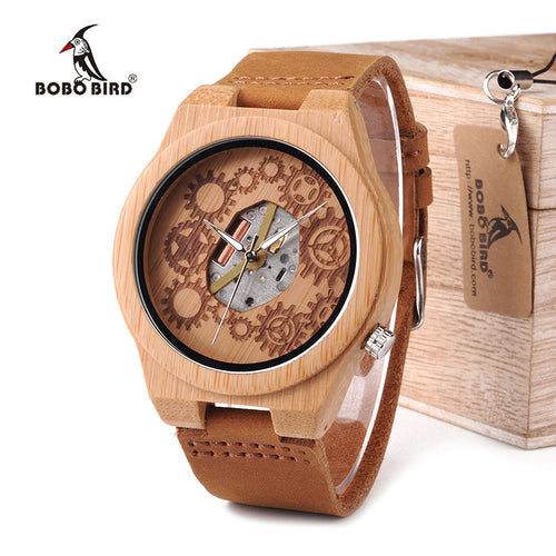 Exposed Movement Luxury Bamboo Watch With Real Leather Straps And Gift Box.