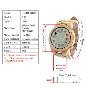 12 hole, Wooden Face Bamboo Watch for Men With Leather Strap.