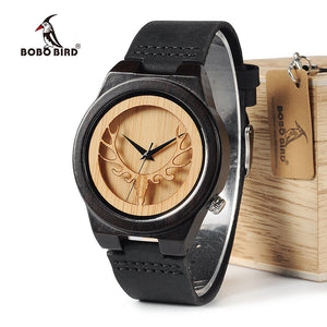 Deer Skeleton Black Wood Watche With Leather Band.