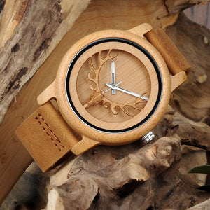 Skeleton Bamboo Watch With Real Leather Band.