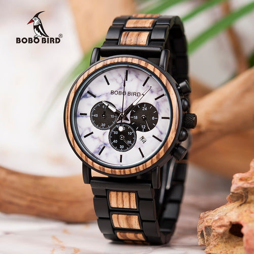 Luxury Stylish Wood Watch, Chronograph.