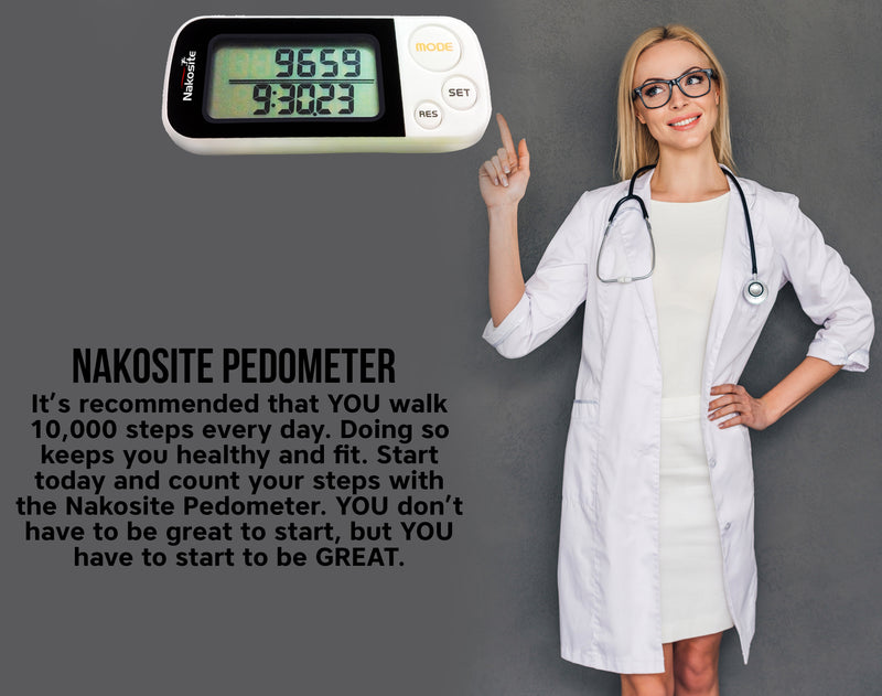 NAKOSITE Best Walking 3D Pedometer with Clip and Strap plus. 30 Days Memory, Accurate Step Counter. PREMIUM