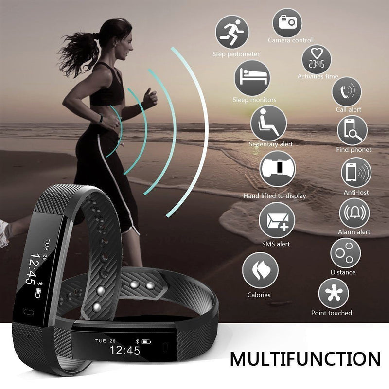 NAKOSITE SB2433 Best Fitness Tracker, Step Counter, Calorie Counter, Sleep Monitor. PREMIUM