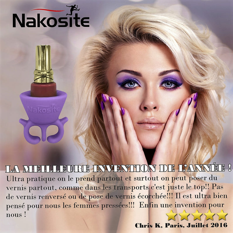 NAKOSITE Best Quality Wearable Nail Polish Holder with Bonus FREE Silicone Makeup Bag. PURPLE. PREMIUM.
