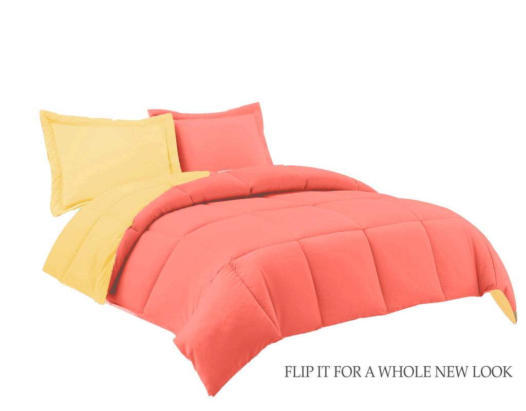 REVERSIBLE COMFORTER WITH MATCHING SHAMS