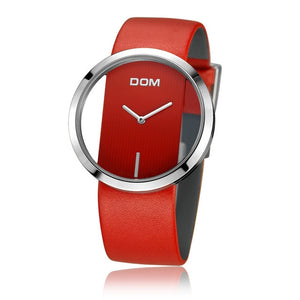 DOM Women's watch with Red Leather Strap