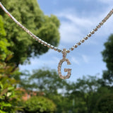 DIAMOND LETTER NECKLACE & 3MM TENNIS CHAIN