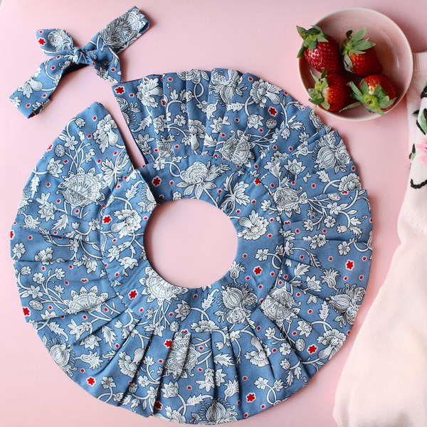 Voilets Are Blue - Frill Bib + Bow Set