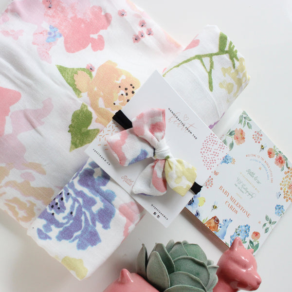 Flowers From The Valley - Swaddle + Bow Set