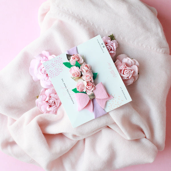 floral pink baby bow