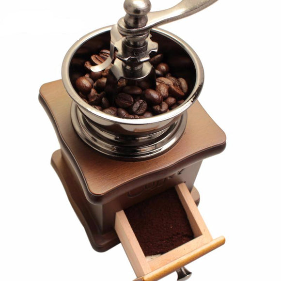 Classical Wooden Manual Coffee Stainless Steel Grinder With High-quality Ceramic Millstone