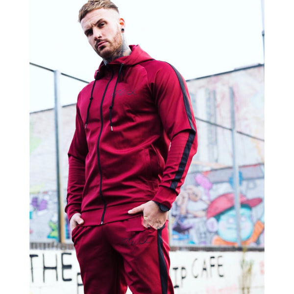 Super Nova Burgundy Tracksuit Top - The Wolfe London
