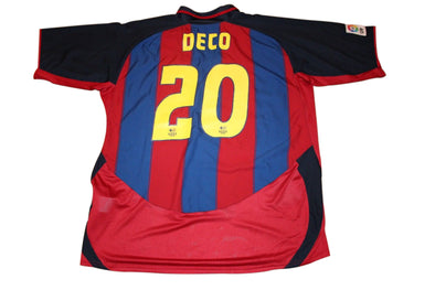 DECO #20 BARCELONA 2003/2004 HOME AUTHENTIC VINTAGE SOCCER/FOOTBALL JERSEY. XXL