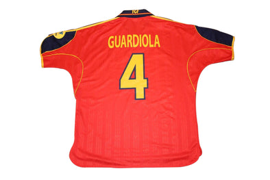 GUARDIOLA #4 SPAIN EURO 2000 HOME AUTHENTIC VINTAGE SOCCER JERSEY. LARGE