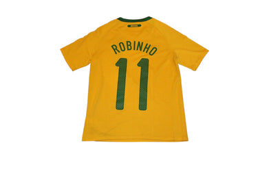 ROBINHO #11 BRAZIL 2010/2011 HOME AUTHENTIC VINTAGE SOCCER JERSEY. BOYS 12-13YRS