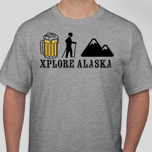 Xplore Alaska Beer, Hike, Mountain T-Shirt