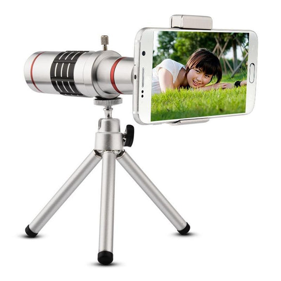 18X Zoom Telescopic Lens + Tripod For iPhone and Android Smartphones - Bestbuy-Gadget