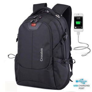 "Crossten Waterproof 16"" Laptop Backpack with External USB Charge - Bestbuy-Gadget"