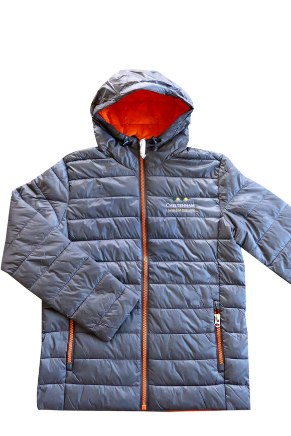 Cheltenham Puffa Jacket - Charcoal Grey with Orange Inner - Cheltenham Racing Store
