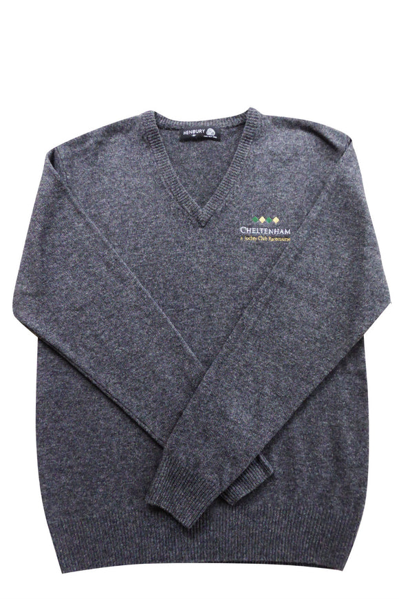 100% Wool Grey V-Neck Mens Jumper - Cheltenham Racing Store