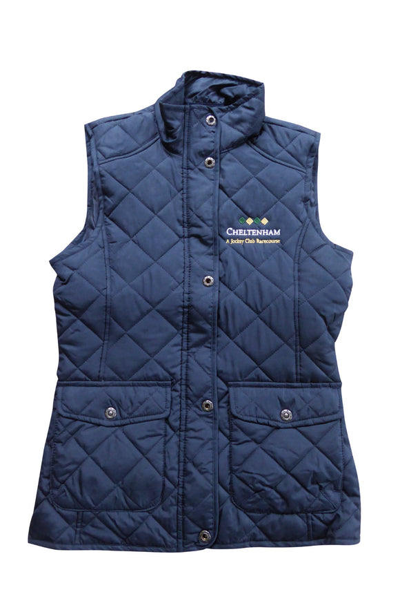 Womens Quilted Navy Blue Fitted Gilet
