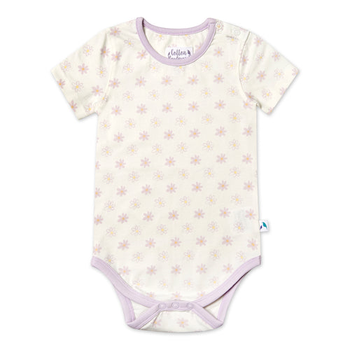 Short Sleeved Bodysuit - Daisy Pattern