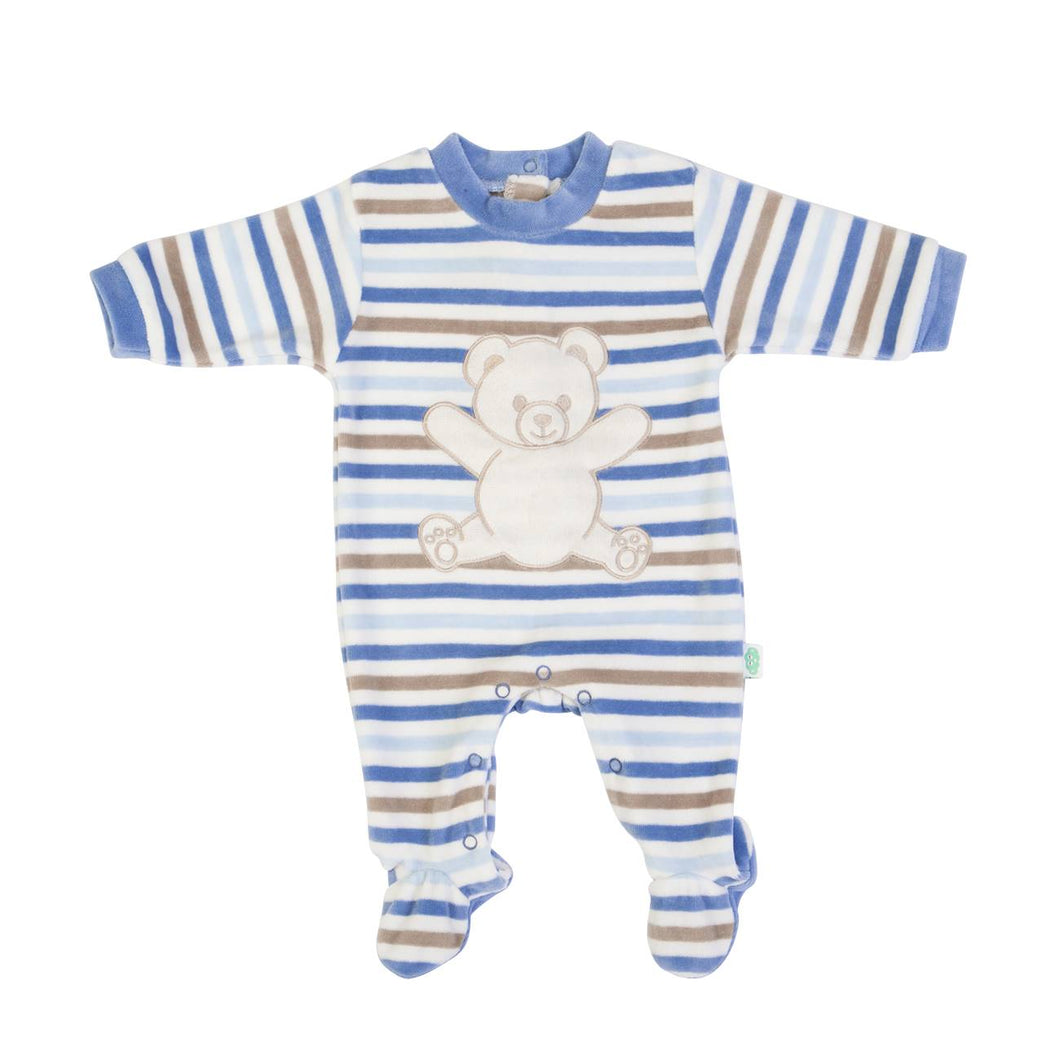 Blue stripe velour babygrow 14014