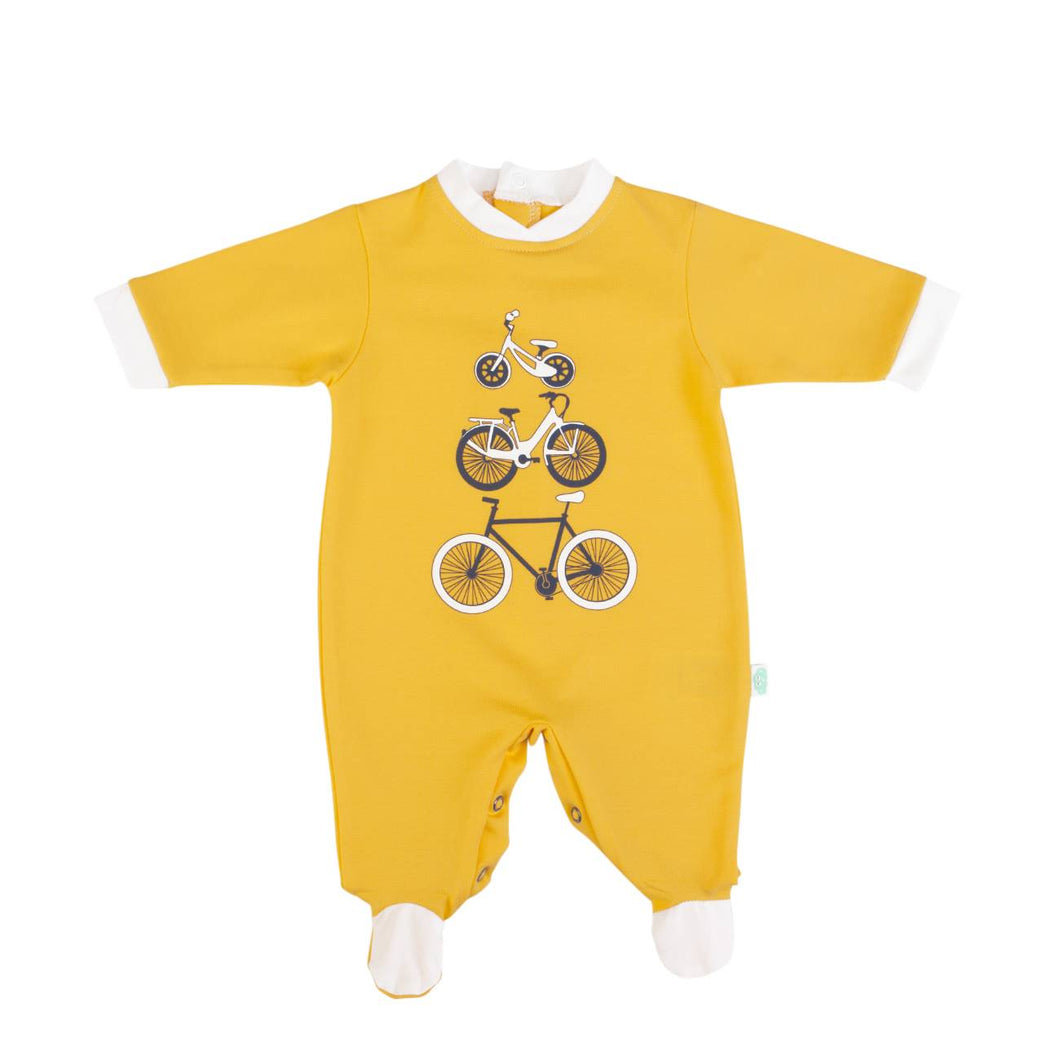 Yellow babygrow with bicycle motif 14303