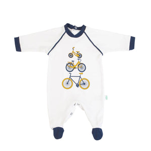 White babygrow with bicycle motif 14304