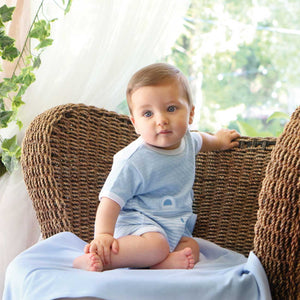 Pale Blue Short sleeved babygrow 14317