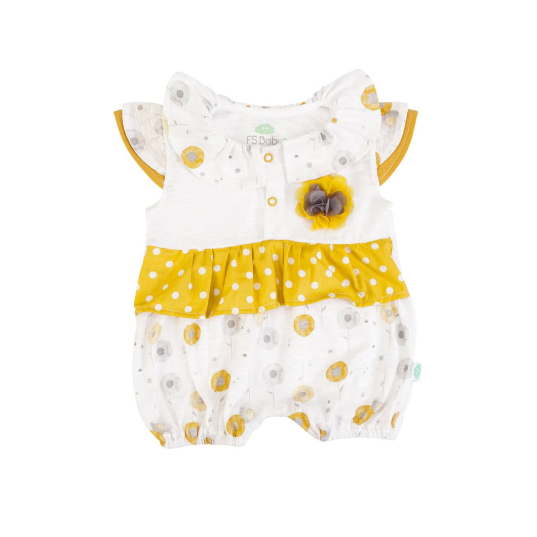 White with Yellow flowers & polka dot frill Babygrow 14391