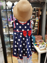 Navy Polka Dot Dress & Sun Hat