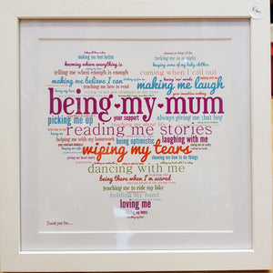 The Word Bird Being My Mum Framed Print