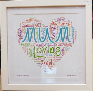 The Word Bird Mum Framed Print 28.5cm x 28.5cm