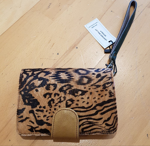 Soruka Leather Wallet Animal Print with Wrist Strap