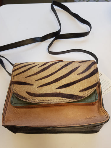 Soruka Shadow Leather & Animal Print Upcycled Leather Bag